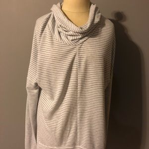 Mock Neck Striped Sweatshirt